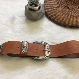 Vintage Charley Stone Tan Leather Big Buckle Belt